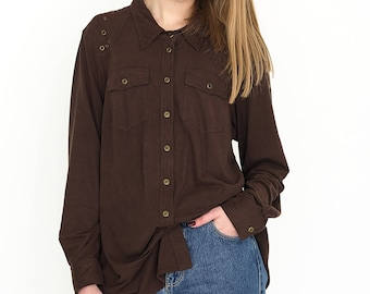 VINTAGE Brown Button Long Sleeve Retro Shirt