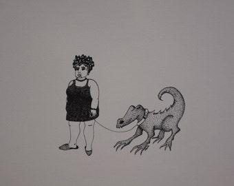 THE DRAGON, original drawing, ink, woman, walk