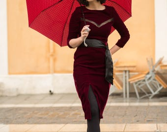 Claret velvet mid-length dress