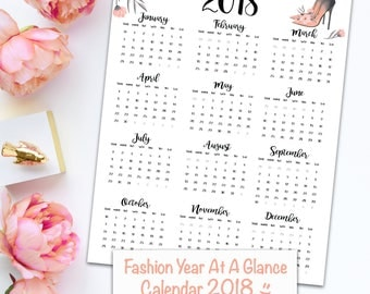Fashion Year At A Glance Calendar 2018. Digital Printable.Sunday and Monday start. Instant Download. Office decor .Home Decor.Gift . Planner