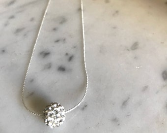 Crystal Ball Pendant Necklace | Silver Necklace | Clear Crystal