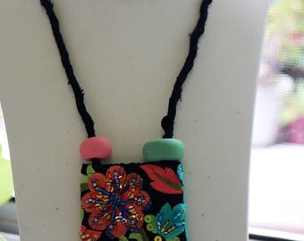 Handmade One of a Kind Necklace,sustainable unique,organic,embriodered,beaded textile boho style.