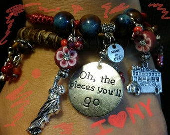 "New York Fans Fun Charm Bracelets ""Oh, the places you'll go"""