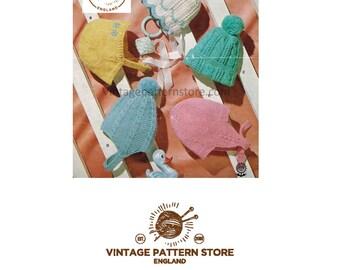 Babies hat, bonnet, helmet - 5 designs - ages 6 months - 2 years - Vintage PDF Knitting Pattern 353