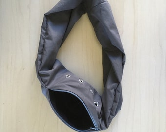 Sugar Glider Bonding Scarf Single Loop - Sugar Glider Bonding Pouch - Rat Bonding Pouch - Bonding Bag - Grey Cotton