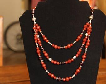 Large orange agate Garnet necklace