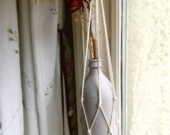 Simple Macrame Plant Hanger- Natural cotton/Perfect for all Pot shapes and sizes!