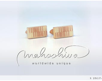 wooden cuff links wood flamed maple maple handmade unique exclusive limited jewelry - mahoshiva k 2017-107