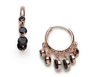 Hoop earrings with black zircon stones