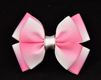 Pink / White Double Bow 4in / 10cm