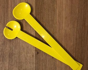 Sarvis Finland Salad Servers Spoons Retro 70s Yellow