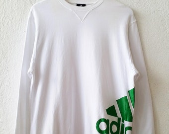 Adidas Big Logo Sweatshirt Jumper Pullover Three Stripe Size Large (amms693)