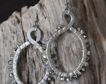 Industrial steam punk silver sparkle hoops