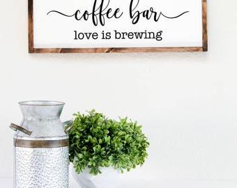 Coffee bar wood sign, housewarming gift ideas for couple, personalized house signs, modern farmhouse decor, creative wedding gift ideas