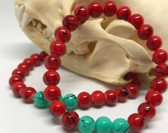 Red and teal glass bead bracelet