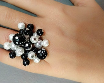 Black and white faux pearl ring