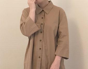 vintage camel button up oversized shirt