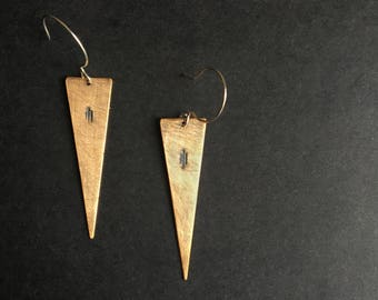 handcrafted triangle bronze earrings