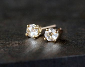 Rose Cut Diamond Stud Earrings, Solid 14k Gold Earrings, Diamond Studs, 1/3 Carat Total Weight, Gift for Her, Prong Setting, Conflict Free