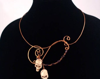 Ahoy, Matey! Copper, Polymer clay and Garnet. One of a kind, handmade necklace.