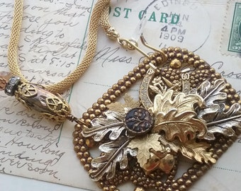 """Fall fashion, leaf necklace, assemblage, gold statement necklace, woodland, necklaces, buckle, antique, leaf jewelry. """"Falling in Love"""""""