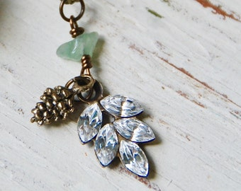 Crystal leaf necklace,pine cone necklace,charm necklace,gemstone necklace,fall necklace,fall jewelry,layering necklace,fall charm necklace.