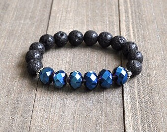 The Dark Crystal Blue Crystal & Lava Rock Beaded Bracelet Unisex Perfect For A Man or Woman Stackable