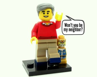 Mister Rogers Custom Figure, Keychain or Necklace Options - Fan Art Crafted From LEGO® Elements