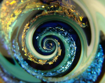 Large Dichroic Glass Vortex Marble Wig-wag Orb Art Fibonacci Spiral Optical Illusion (ready to ship)