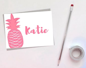 Set of [10] Personalized 4x6 Pineapple Folded Card - Greeting Card - Note Card - Name