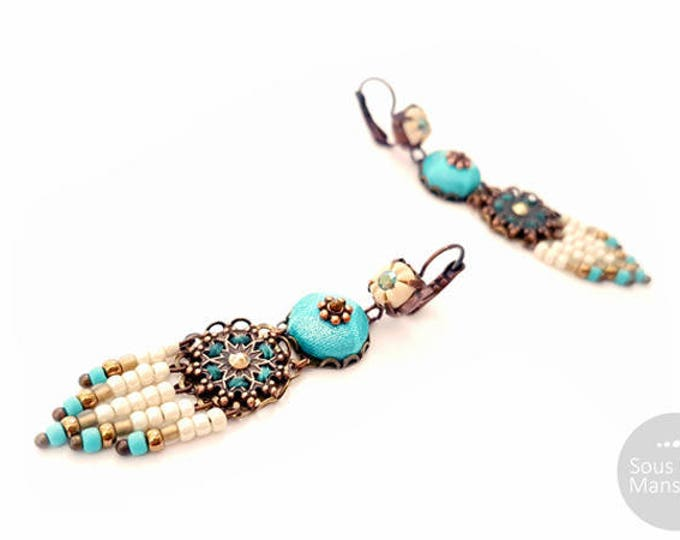 Long earrings beige turquoise, sand color earrings, turquoise earrings, dreamcatcher shape earrings, ethnic chic earrings, hippy chic
