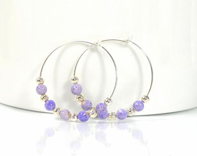 Hoop Earrings Purple Silver Earring 1 inch Hoop Earring Beaded Earrings Handmade Earrings Beaded Hoop Earrings Lavender Hoops