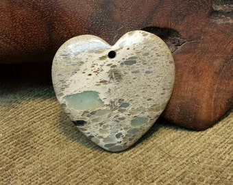 Natural Snakeskin Jasper Heart with Victorian Lace look
