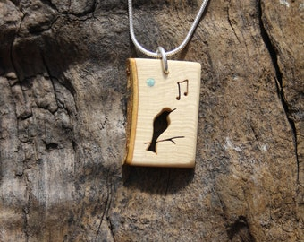 Songbird Necklace, Hand Carved Holly Wood Blackbird Wooden Pendant, Unique Wood Gift, Natural Wood Pendant, Music Lovers & Bird Lovers Gift