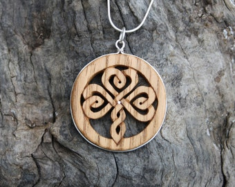 Irish Shamrock Knot Necklace, Handcarved Irish Oak Celtic Necklace On Sterling Silver, Unique Wooden Celtic Jewelry, Made In Ireland