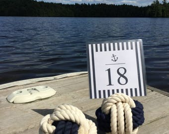15-19  Rope Number Holders -  Blue and Cream - Smaller Size - Under 4 inch - Nautical Wedding -Table Number Holders  - Beach Wedding Decor