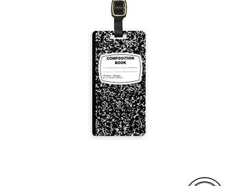 Luggage Tag Notebook College Composition Book  Metal Luggage Tag With Custom Info On Back, Single Tag