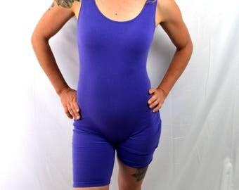 Great 80s Vintage Purple Jacques Moret Onesie Spandex Leotard Unitard Bodysuit