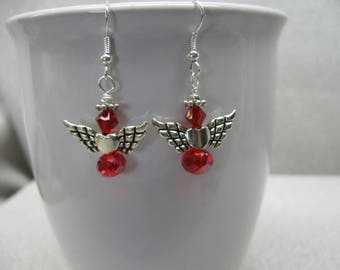 Dangle Earrings Angels with Red Crystals, Heart and Wings