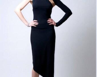 Asymmetric Dress / One Shoulder Dress / Black Dress / Party Dress / Evening Dress / Signature Design / Marcellamoda - MD0008