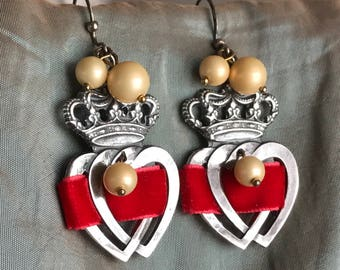 beribboned hearts - earrings crowns red velvet ribbon vintage glass pearls royal statement jewelry dangle drop valentine, the french circus