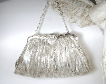 Art Deco Mesh Purse,Whiting & Davis Liquid Silver Ornate Rhinestone Clasp Evening Bag,Vintage Old Hollywood Glam Handbag Small Clutch 1940's