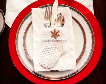 Silverware Christmas Stockings - Silverware Holders - Gift Card Holders - Christmas Stocking Gift Card Holder - Christmas Table Decor