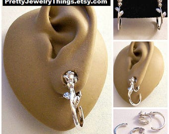 Avon Single Rose Flower Leaf Hoop Clip On Earrings Silver Tone Vintage Open End Long Detailed Stem Ring Dangles