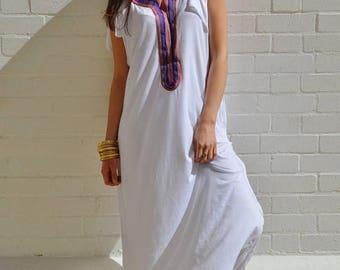 SUMMER 10% OFF // White Tee Boho kaftan caftan-loungewear,resortwear,spa robe, summer dress, maxi dress, beach cover ups
