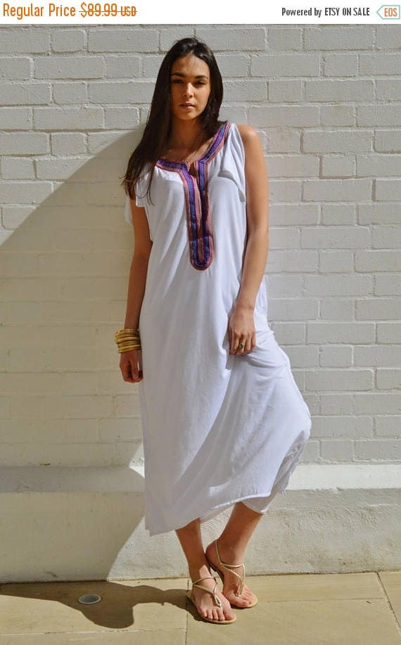 SUMMER 10% OFF // White Tee Boho kaftan caftan-loungewear,resortwear,spa robe, summer dress, maxi dress, beach cover ups