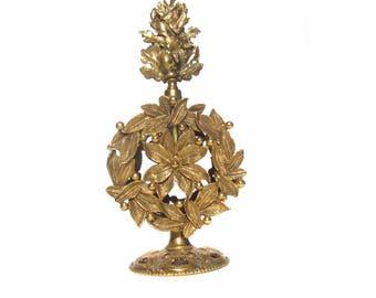 Vintage Ormolu Perfume Bottle, Gold Flowers and Leaves, Stylebuilt Perfume Bottle, Hollywood Regency Bathroom or Bedroom Vanity