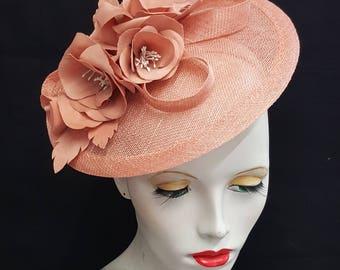 Salmon pink saucer tilt sinamay fascinator hatinator hat with rose flower detail - headband fixing ideal races wedding