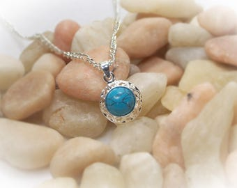 Silver Necklace Pendant Turquoise Howlite Necklace Turquoise Howlite Pendant Adjustable Silver Necklace - 17041