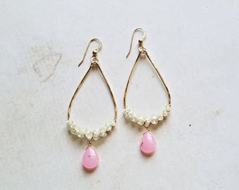 Pink Green Gemstone Hoops, Pink Jade Dangle, Prehnite Cluster Hoops:  Ready to Ship